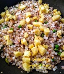 Add fried diced potatoes
